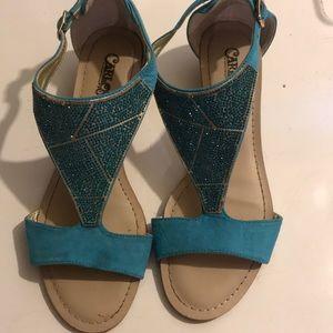 Blue, small heel sandals